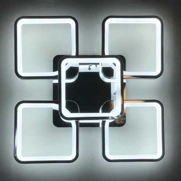 Лед люстра 5 квадратов хром фото