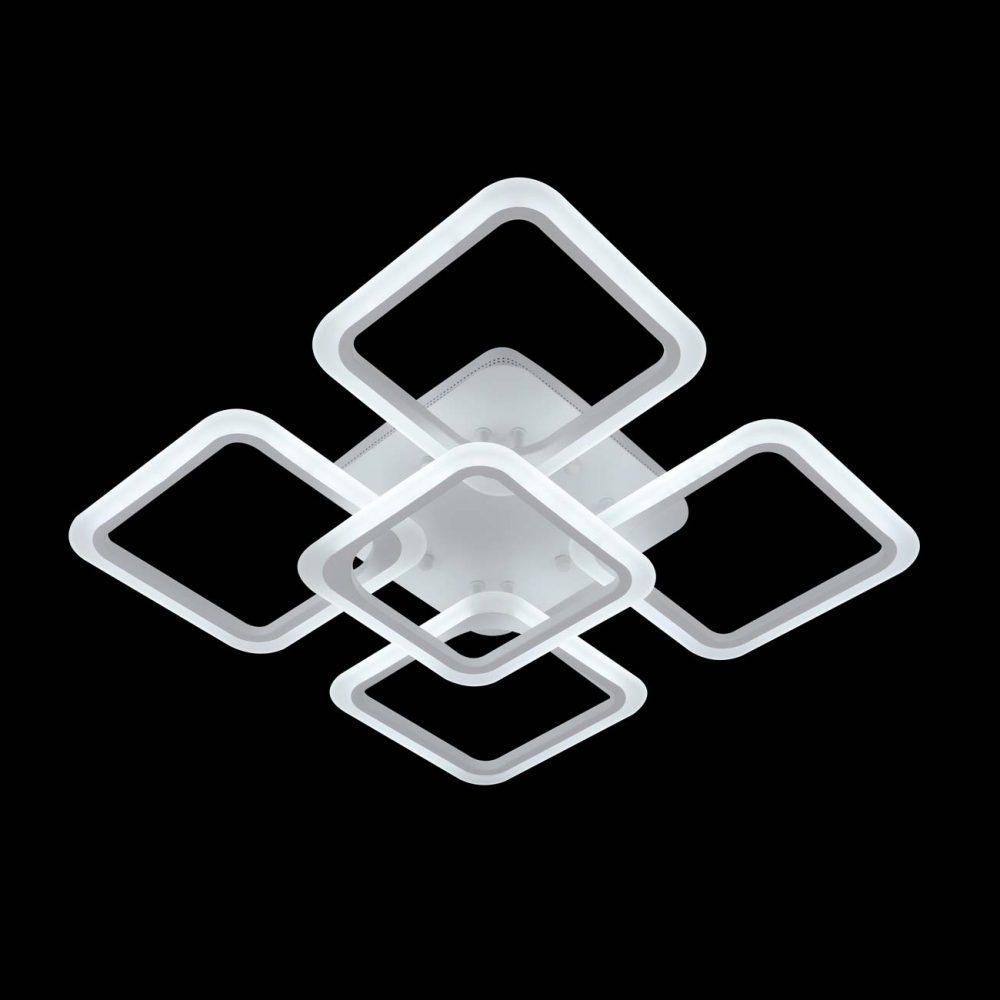 Диодная люстра 4 квадрата с пультом фото