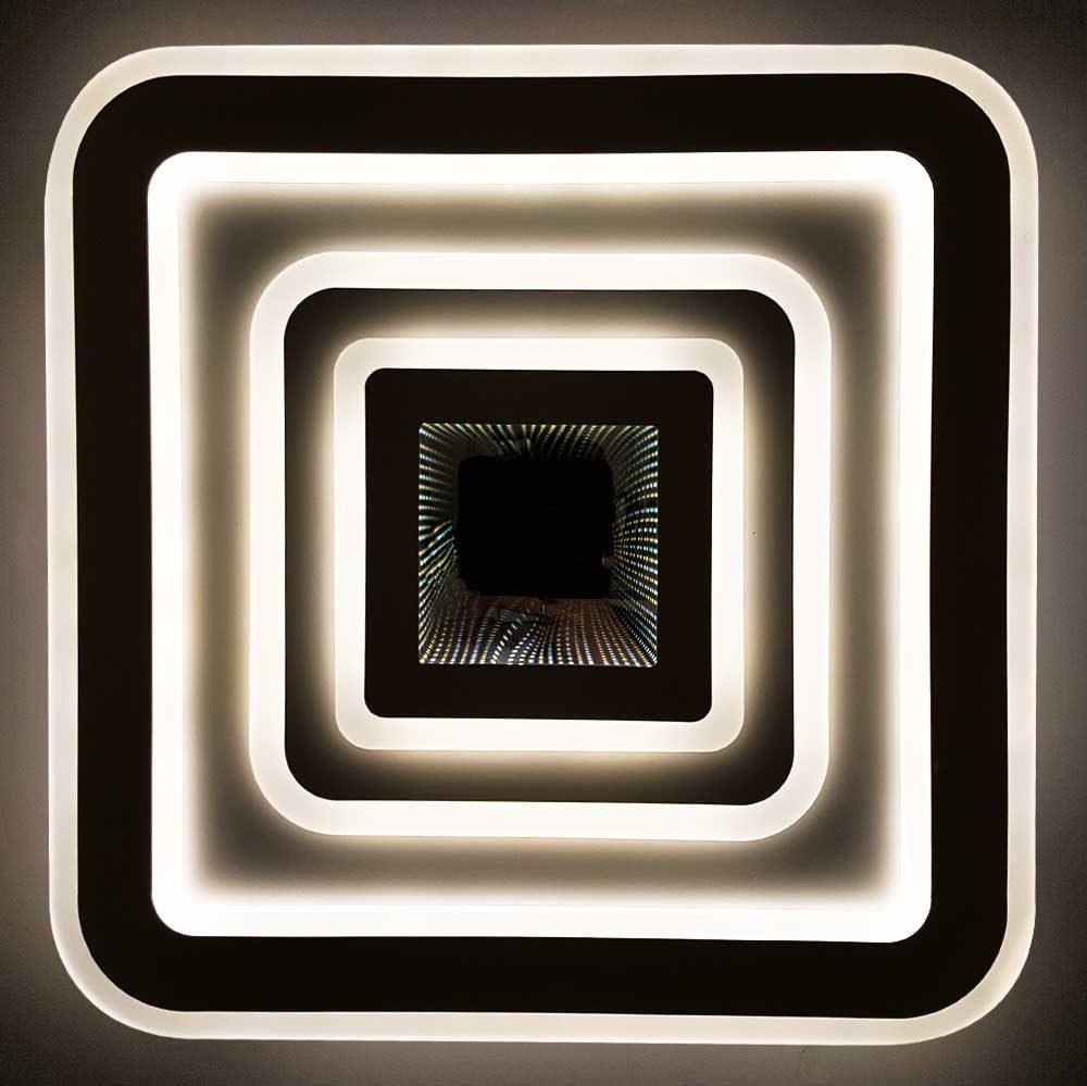 Квадратная светодиодная люстра 3D с пультом Quatro фото