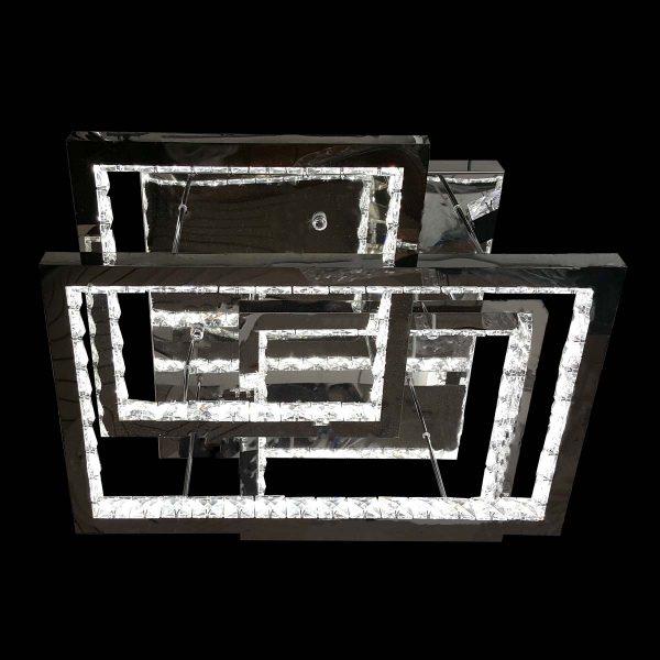 Хромированная светодиодная люстра хрустальная фото