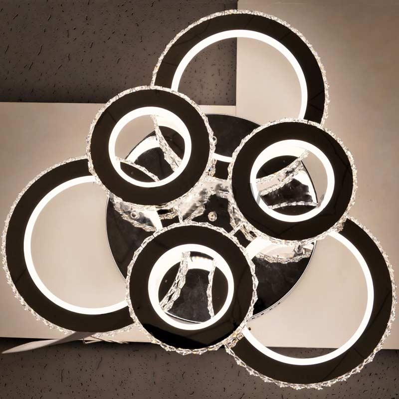 Светодиодная люстра кругами хрусталь фото