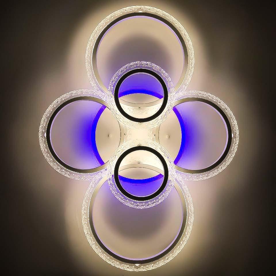 Люстра шесть колец RGB белая фото