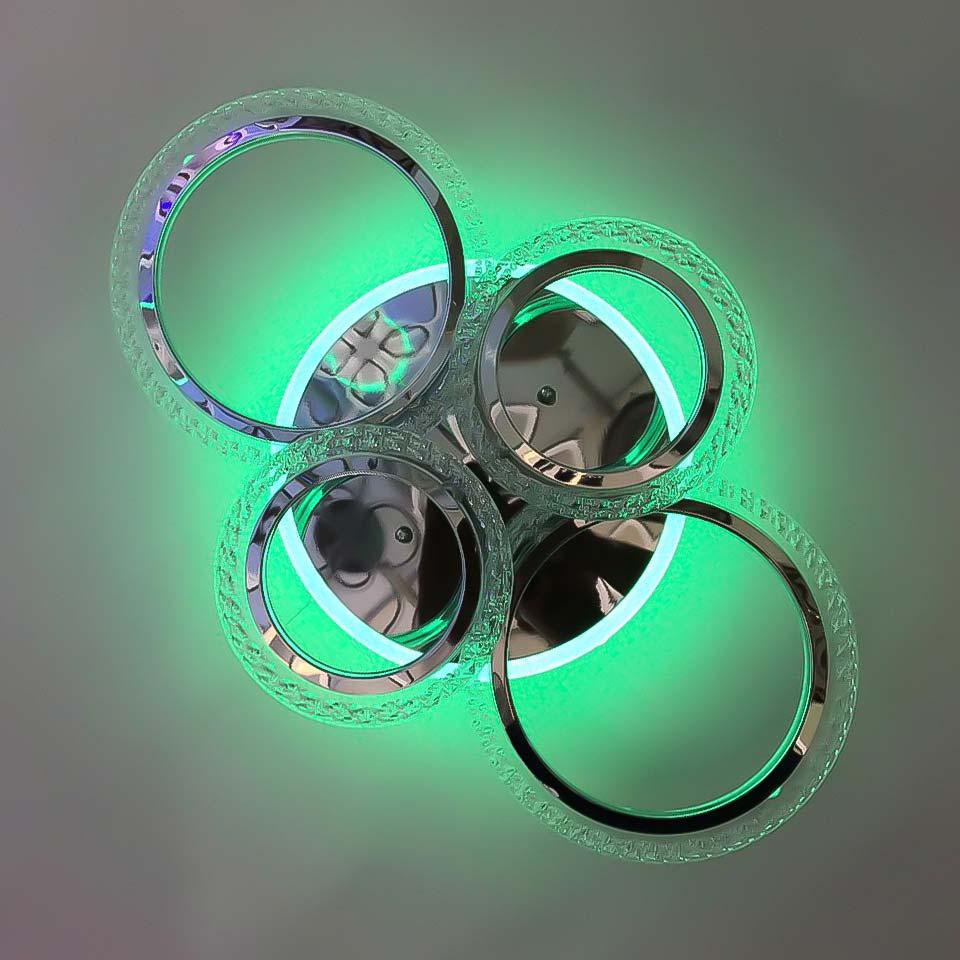 Люстра 4 кольца цветная подсветка RGB фото