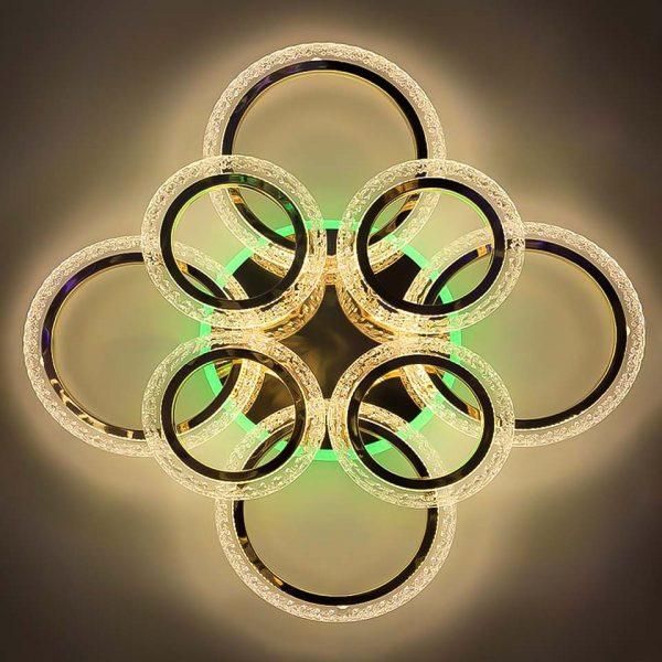 Люстра диодная круги цветная подсветка фото