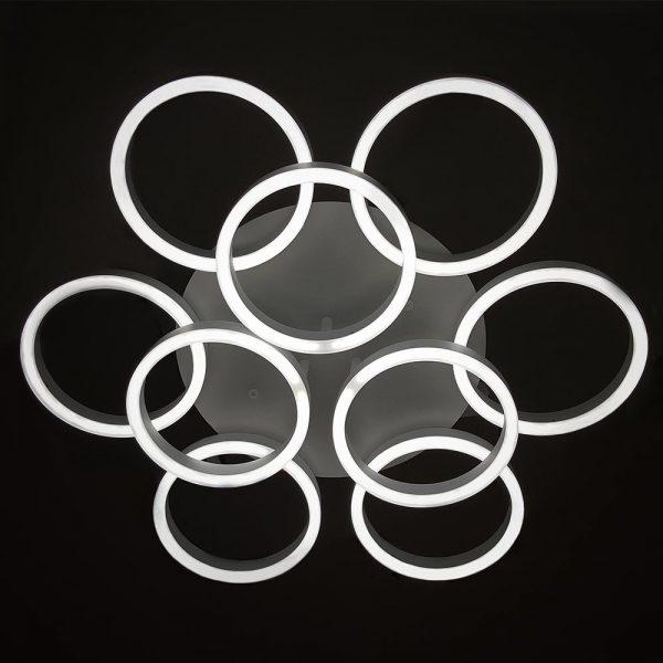 Светодиодная хай-тек люстра кругами с пультом фото