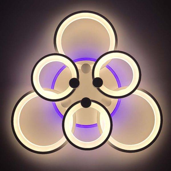Диодная люстра шесть кругов RGB фото