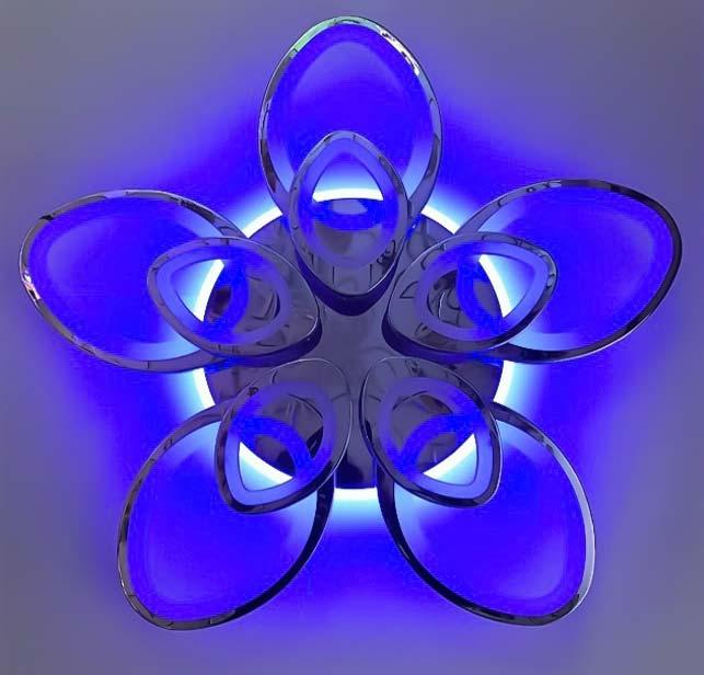 Люстра 10 цветков цвет хром LED фото