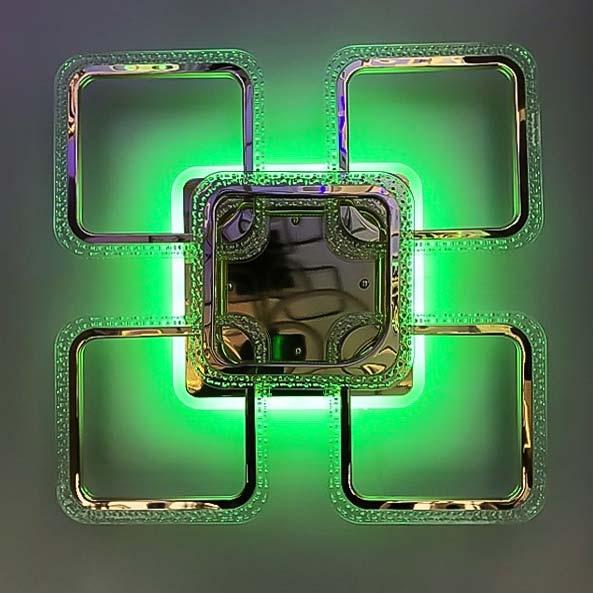 Люстра 5 квадратов RGB цвет золото фото