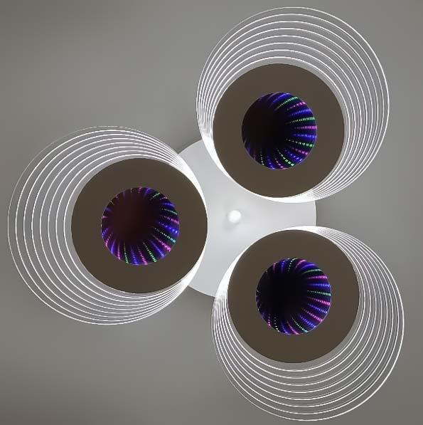 LED потолочная люстра три круга 3D фото