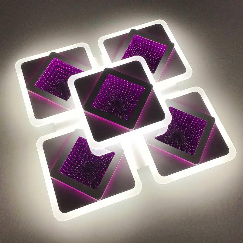 Люстра квадратная 5 квадратов-3d фото