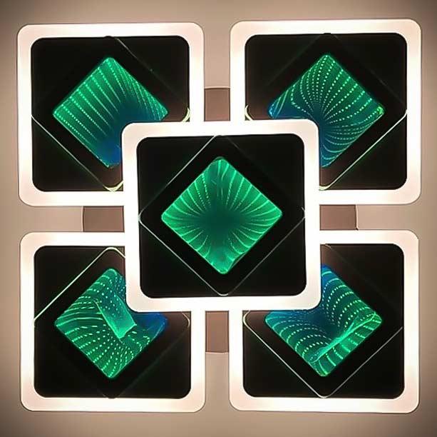 Люстра квадраты 3D коричневая фото
