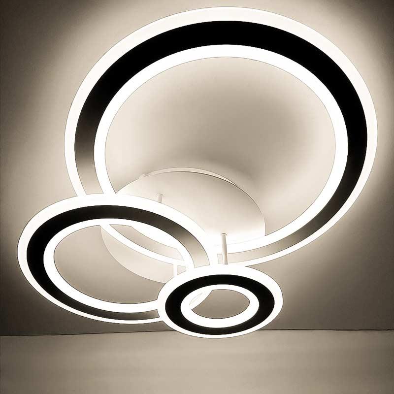 Люстра 3 светодиодных круга фото