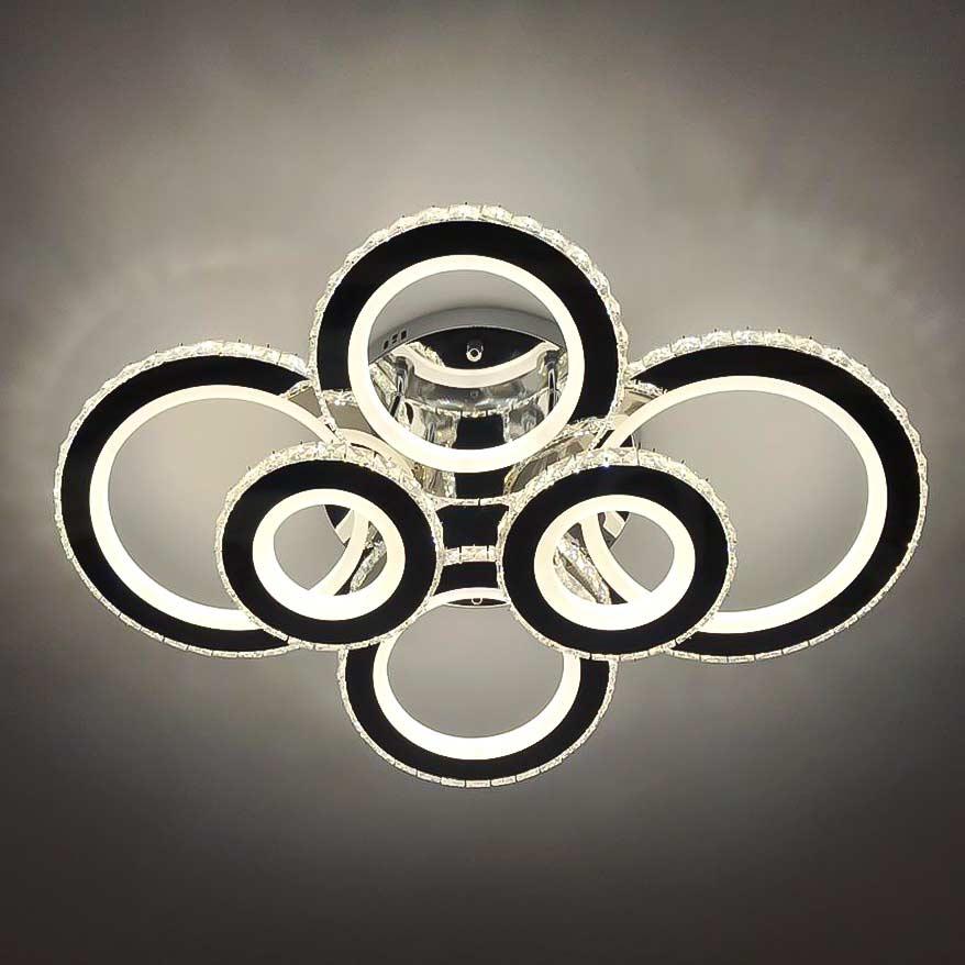 Диодная люстра на 6 колец хром хрусталь фото