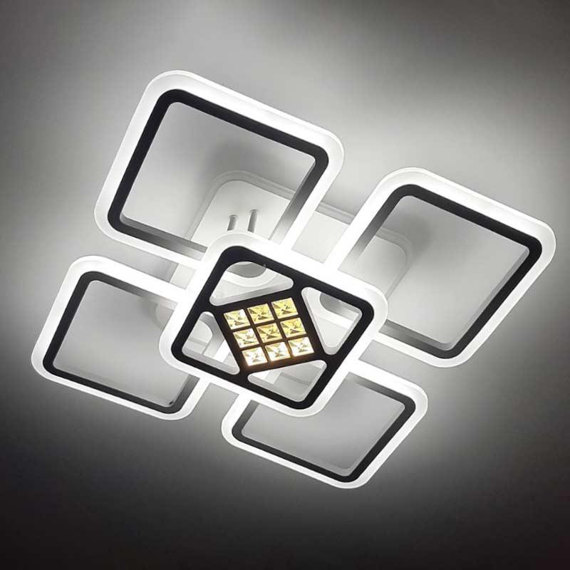 Люстра светодиодная 5 квадратов с хрустальными камнями фото