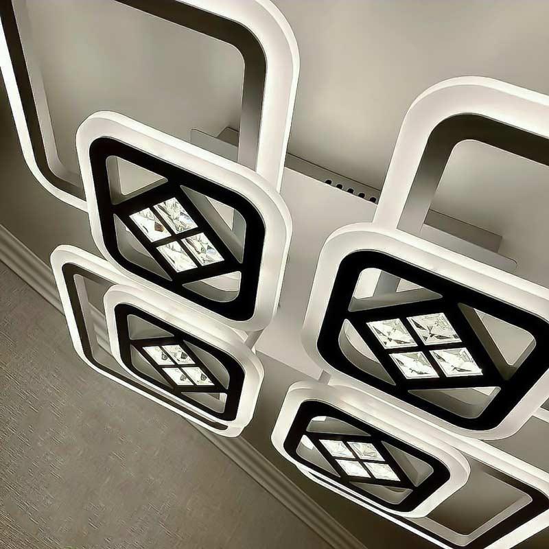 Люстра светодиодная 8 квадратов с хрустальными камнями фото