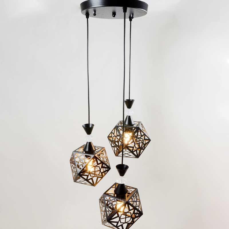 Подвесной светильник лофт черный 3 плафона Blackness фото