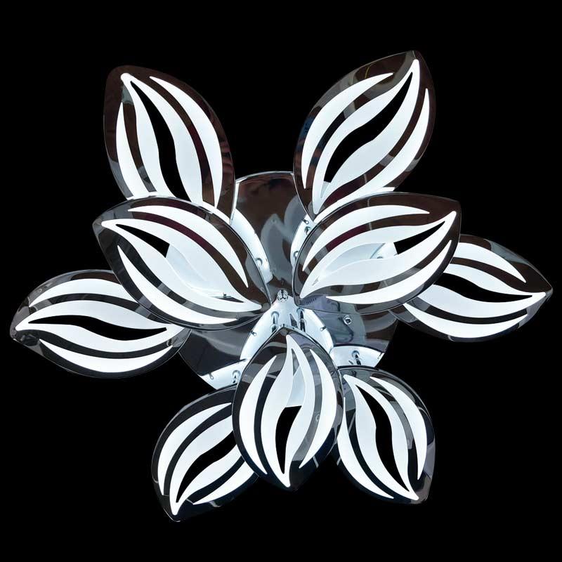 Люстра серебрянная цветок с пультом фото