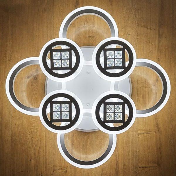 светодиодная люстра 8 кругов с камешками фото