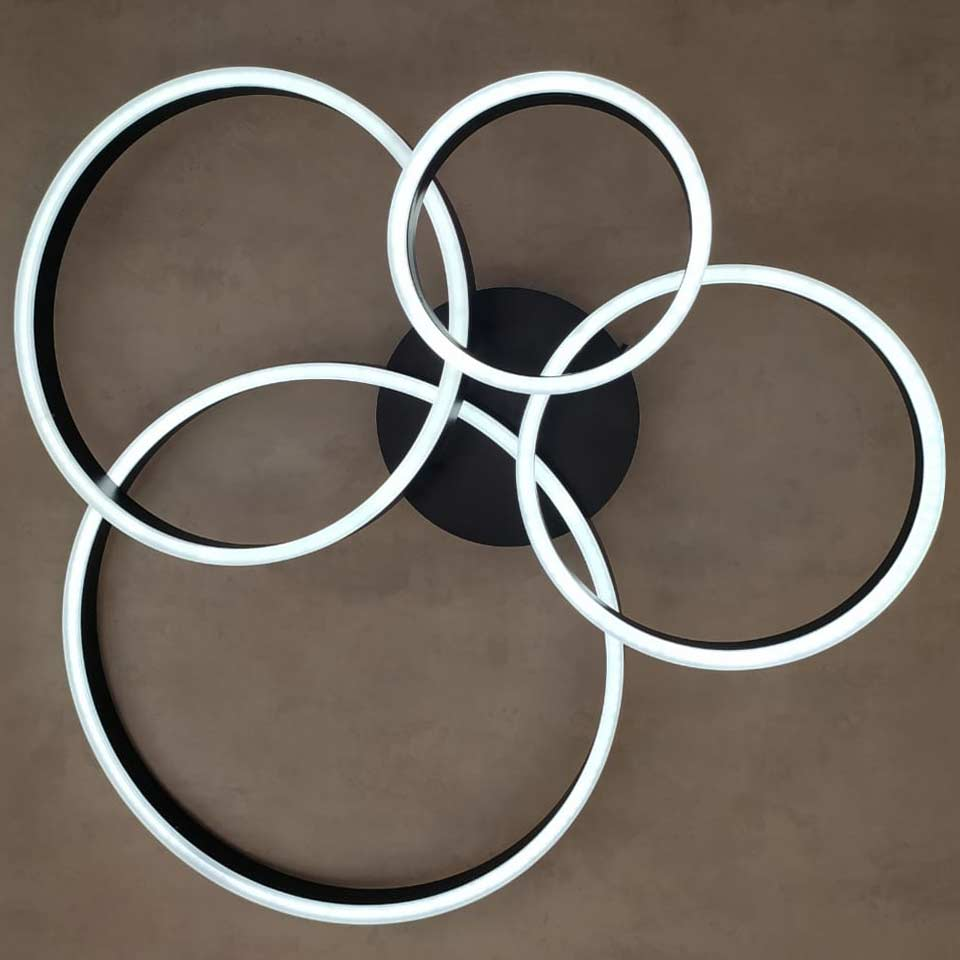 Светодиодная люстра с пультом с 4 кругами фото
