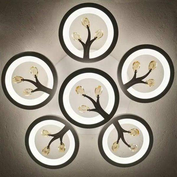 Светодиодная люстра круги с цветками фото