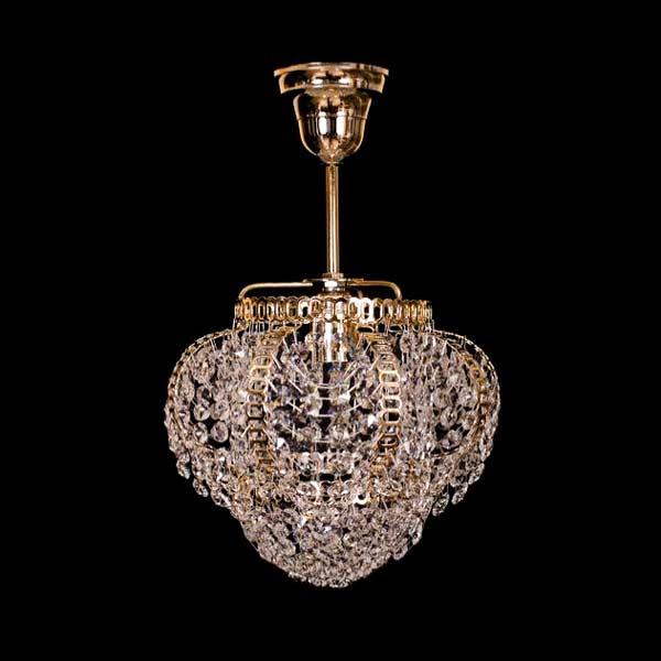 Люстра подвесная хрустальная на 1 лампу фото