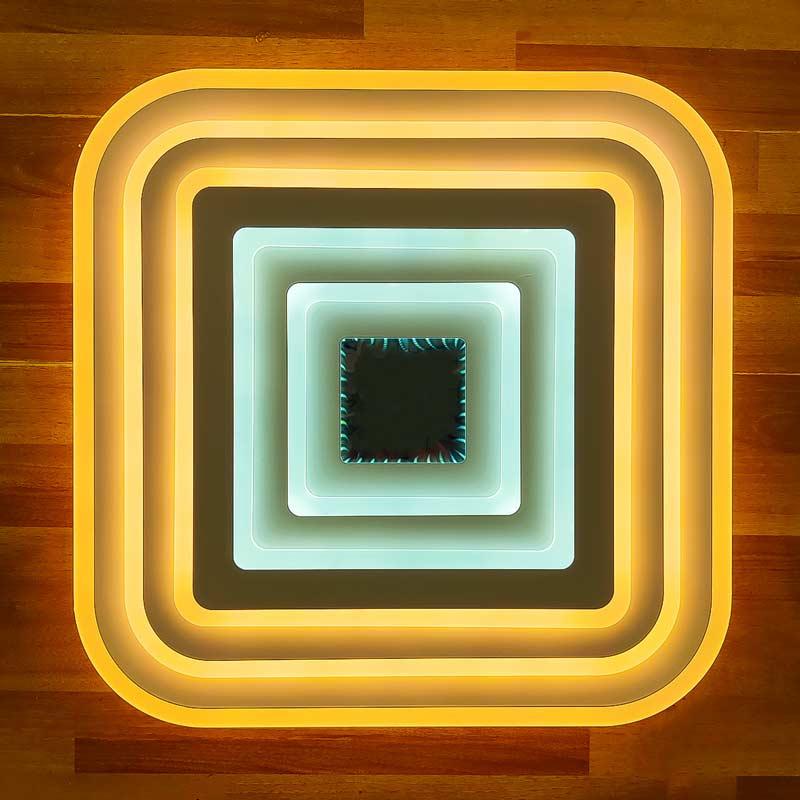Плоская люстра квадратная фото