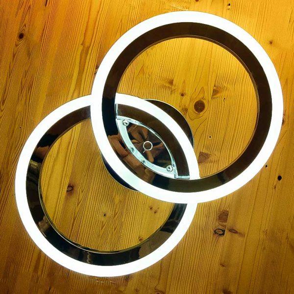 Светильник диодный 2 кольца хром фото