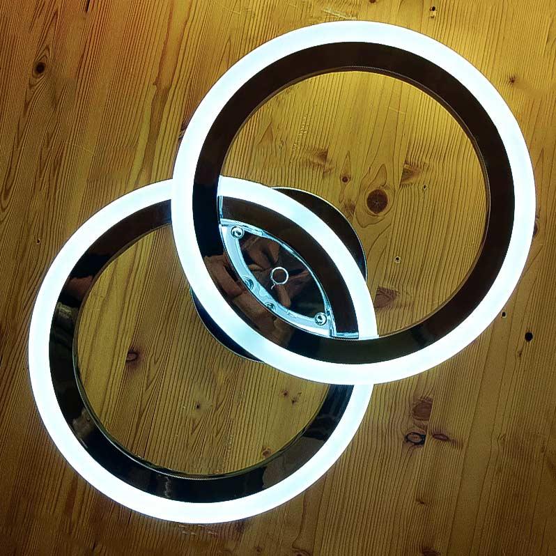 Светильник в форме 2 колец Doble Rings хром фото