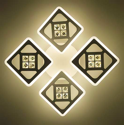 Люстра 4 четыре квадрата XT теплый свет фото