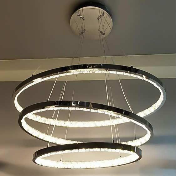 Диодная люстра круги подвесы crystal-chrome фото